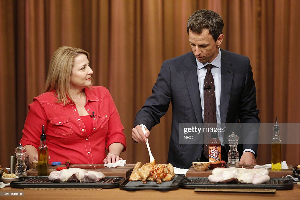 Chef Elizabeth Karmel during a cooking segment with host Seth Meyers on July 15, 2014 --