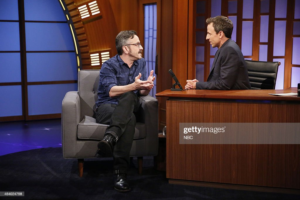 Comedian <a gi-track='captionPersonalityLinkClicked' href=/galleries/search?phrase=Marc+Maron&family=editorial&specificpeople=236022 ng-click='$event.stopPropagation()'>Marc Maron</a> during an interview with host <a gi-track='captionPersonalityLinkClicked' href=/galleries/search?phrase=Seth+Meyers&family=editorial&specificpeople=618859 ng-click='$event.stopPropagation()'>Seth Meyers</a> on July 15, 2014 --
