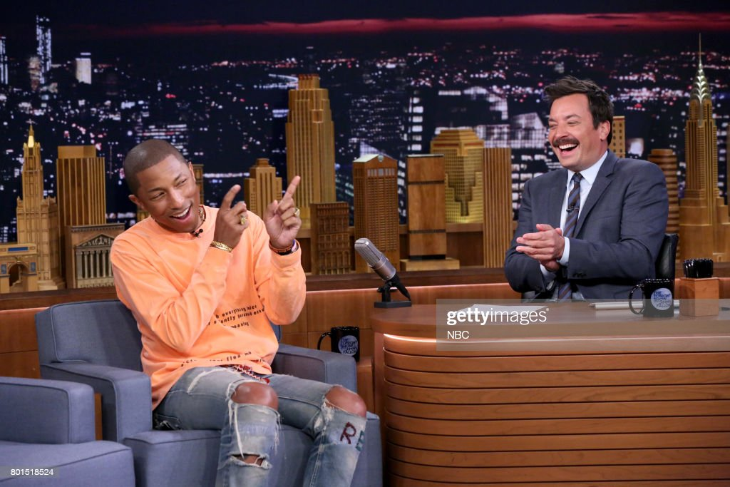 Music Producer Pharrell Williams during an interview with host Jimmy Fallon on June 26, 2017 --