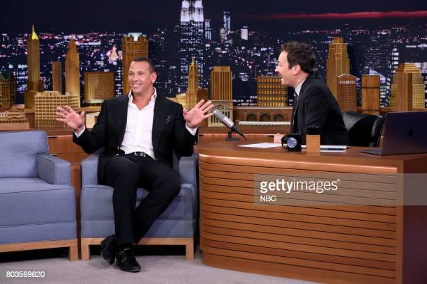 Athlete Alex Rodriguez during an interview with host Jimmy Fallon on June 29 2017