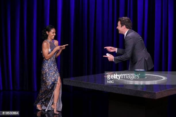 Actress Jada Pinkett Smith with Host Jimmy Fallon arriving to play 'Catchphrase' on July 18 2017