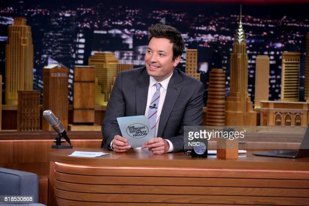 Host Jimmy Fallon at his desk on July 18 2017