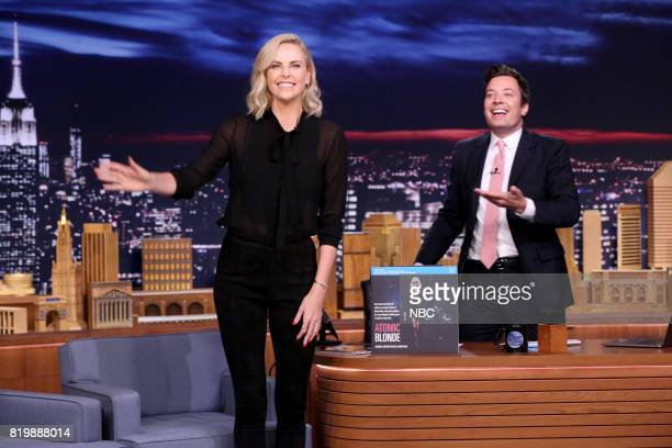 Actress Charlize Theron arrives for an interview with host Jimmy Fallon on July 20 2017