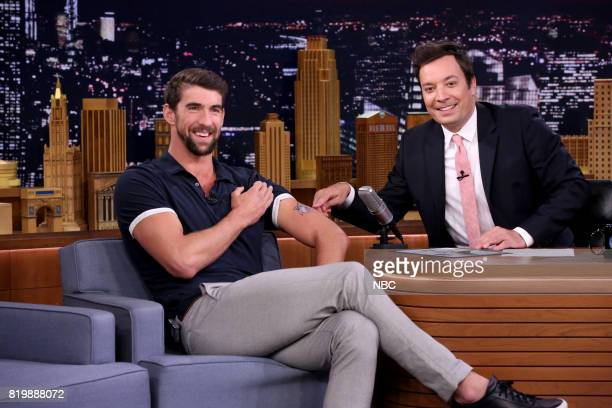 Athlete Michael Phelps during an interview with host Jimmy Fallon on July 20 2017