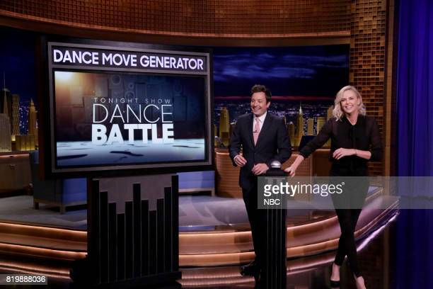Host Jimmy Fallon with Actress Charlize Theron during 'Dance Battle' on July 20 2017