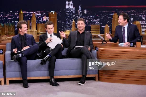 Matthew Lowe John Owen Lowe and Actor Rob Lowe play 'Best Son Challenge' with host Jimmy Fallon on July 24 2017