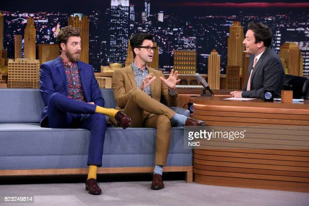 Rhett James McLaughlin and Charles Lincoln 'Link' Neal III of Rhett Link during an interview with host Jimmy Fallon on July 26 2017