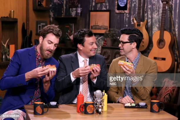 Rhett James McLaughlin and Charles Lincoln 'Link' Neal III of Rhett Link with Host Jimmy Fallon during 'Will It Hot Dog' on July 26 2017
