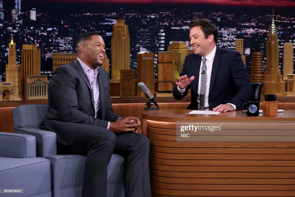 Michael Strahan during an interview with host Jimmy Fallon on July 27, 2017 --