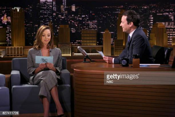 Actress Aubrey Plaza with host Jimmy Fallon during 'Think Fast' on August 7 2017