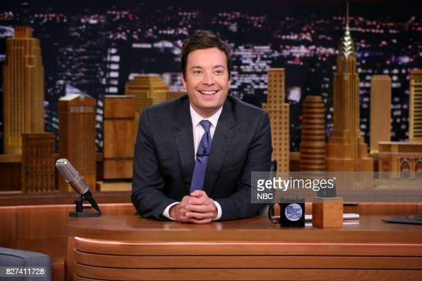 Host Jimmy Fallon at his desk on August 7 2017