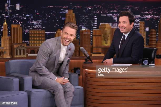 Television host Derek Hough during an interview with host Jimmy Fallon on August 8 2017