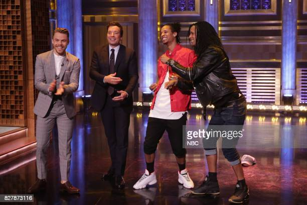 Television host Derek Hough host Jimmy Fallon and 'World of Dance' winners 'Les Twins' on August 8 2017