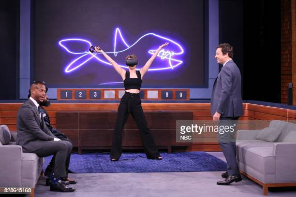 Comedian/Actor Marlon Wayans actress Brie Larson and host Jimmy Fallon play 'Virtual Reality Pictionary' on August 9 2017