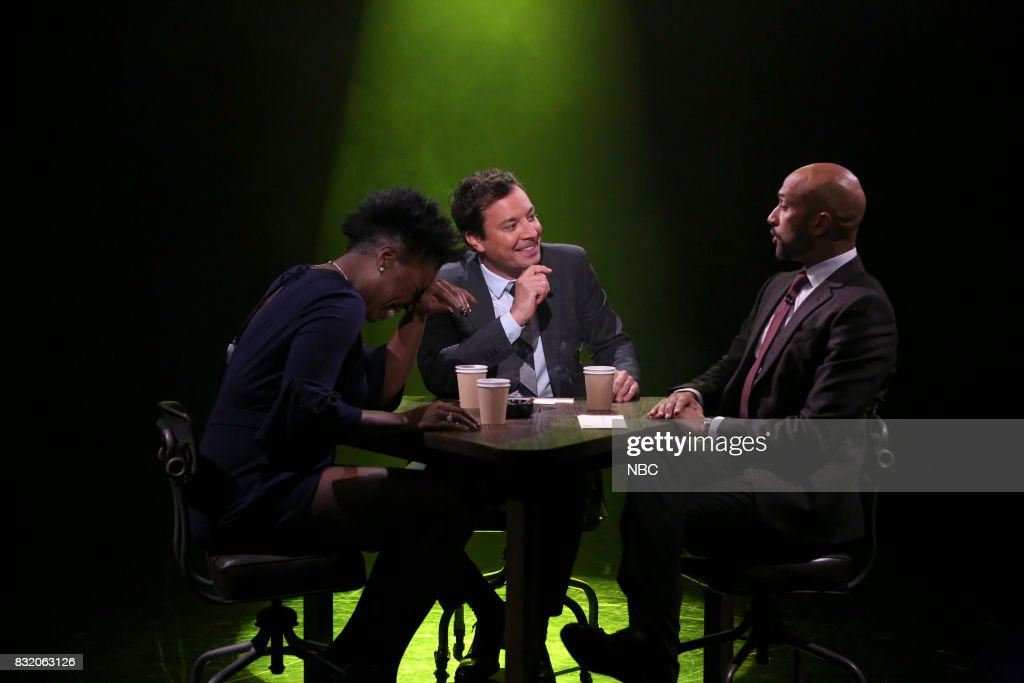 Comedian Leslie Jones, host Jimmy Fallon and actor Keegan-Michael Key play true confessions on August 15, 2017 --