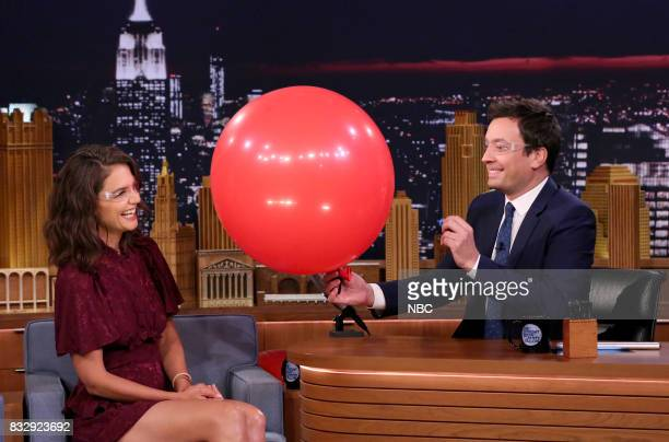 Actress Katie Holmes during an interview with host Jimmy Fallon on August 16 2017