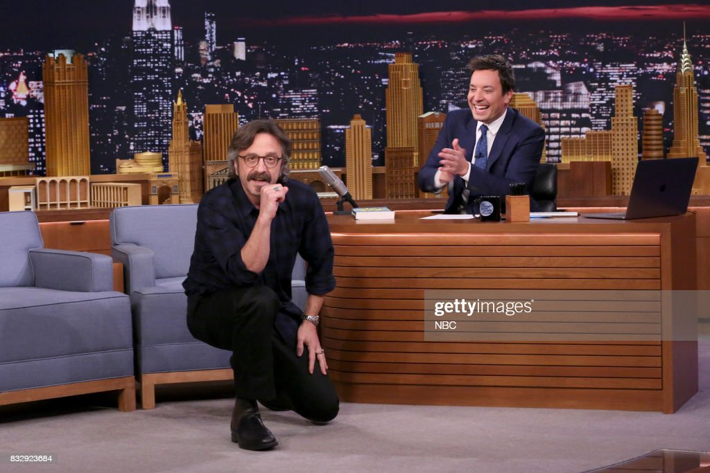 Author/Comedian Marc Maron with host Jimmy Fallon on August 16, 2017 --