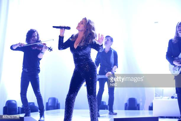 Musical Guest Shania Twain performs 'Swinging' with My Eyes Closed' on August 16 2017