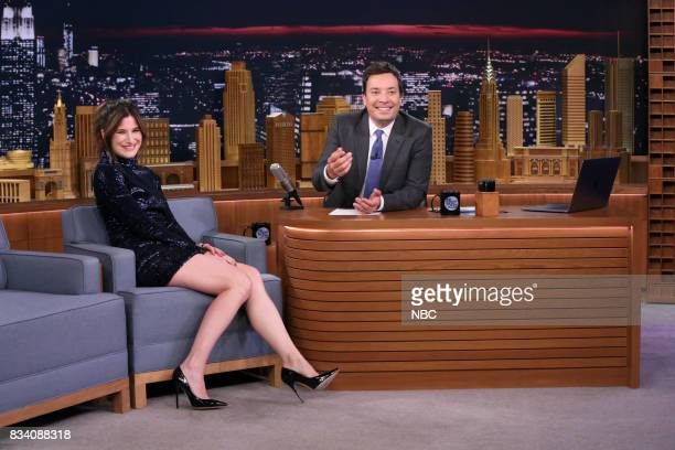 Actress Kathryn Hahn during an interview with host Jimmy Fallon on August 17 2017