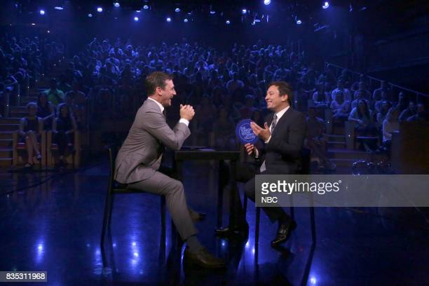 Jon Hamm with host Jimmy Fallon during 'Face It Challenge' on August 18 2017