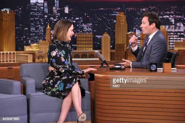 Actress Sarah Paulson with host Jimmy Fallon during 'Wheel of Impressions' on September 5 2017