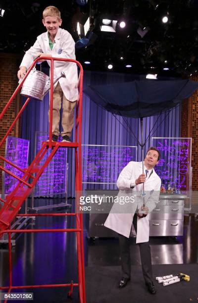 Guest Inventor Patrick with host Jimmy Fallon during 'Fallonventions' on September 6 2017