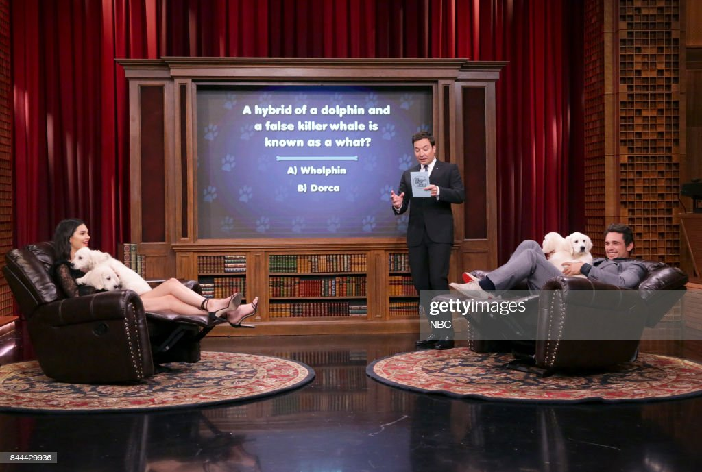 Model Kendall Jenner, Host Jimmy Fallon and Actor James Franco during 'Pup Quiz' on September 8, 2017 --
