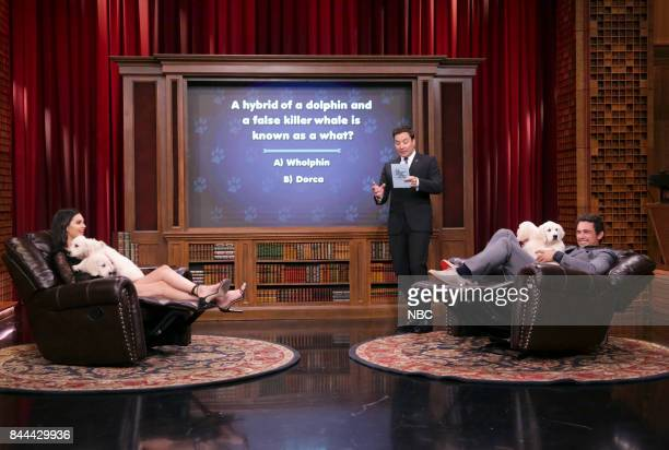 Model Kendall Jenner Host Jimmy Fallon and Actor James Franco during 'Pup Quiz' on September 8 2017