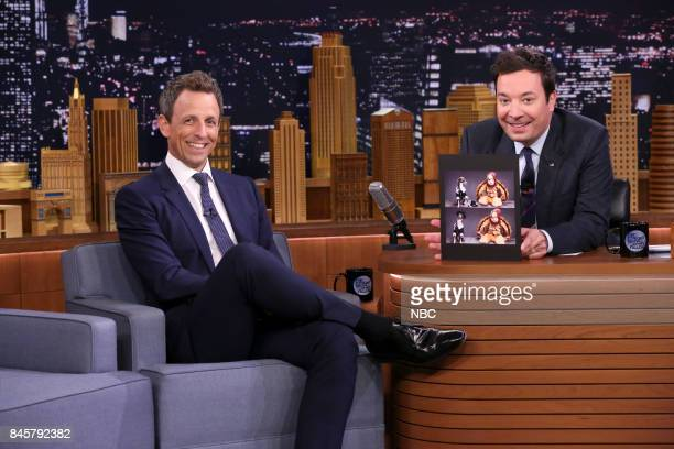Comedian Seth Meyers during an interview with host Jimmy Fallon on September 11 2017