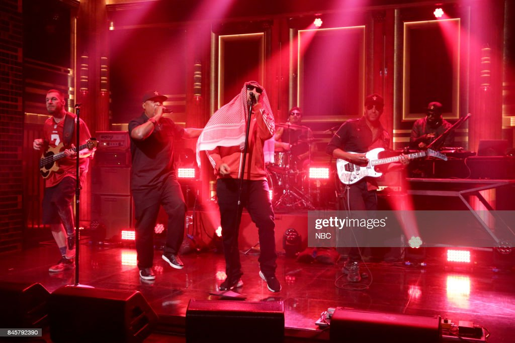 Tim Commerford, Chuck D, B-Real, Brad Wilk, Tom Morello and DJ Lord of musical guest Prophets of Rage on September 11, 2017 --