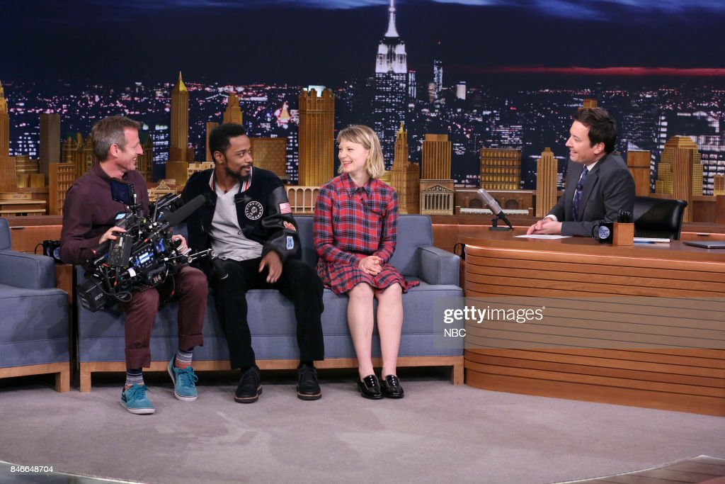 Spike Jonze, Lakeith Stanfield, Mia Wasikowska during an interview with host Jimmy Fallon on September 13, 2017 --