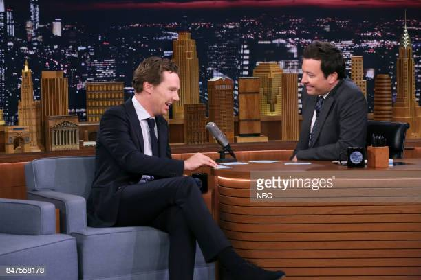Actor Benedict Cumberbatch plays 'Sentence Sneak' with host Jimmy Fallon on September 15 2017