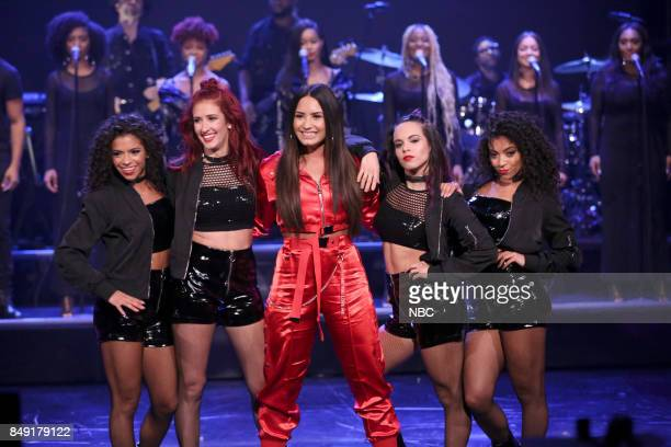 Musical Guest Demi Lovato after a performance of 'Sorry Not Sorry' on September 18 2017