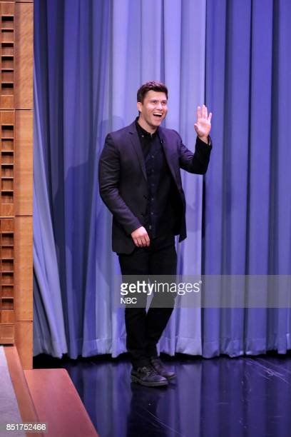 Colin Jost arrives for an interview on September 22 2017