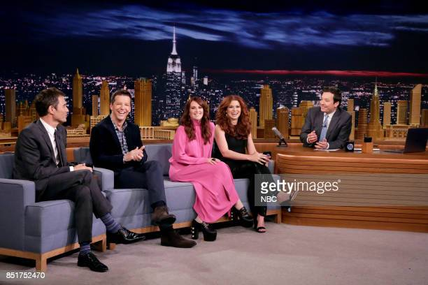 The Cast of 'Will Grace' Eric McCormack Sean Hayes Megan Mullally Debra Messing during an interview with host Jimmy Fallon on September 22 2017