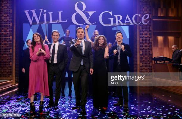 The Cast of 'Will Grace' perform 'Will Grace is Coming to Town' featuring Megan Mullally Eric McCormack host Jimmy Fallon Debra Messing and Sean...