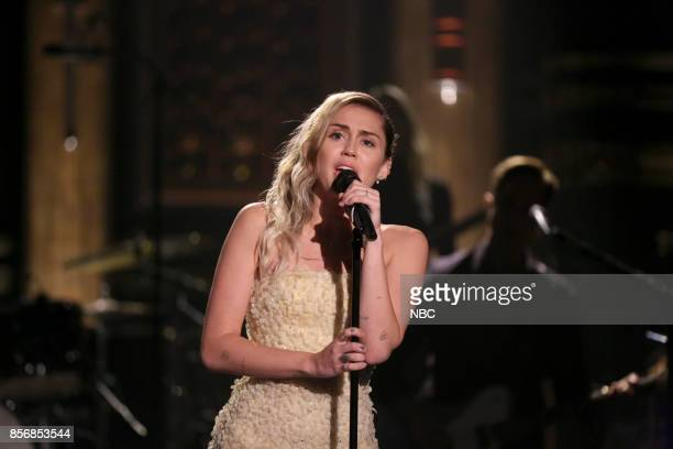 Musical Guest Miley Cyrus performs 'The Climb' on October 2 2017