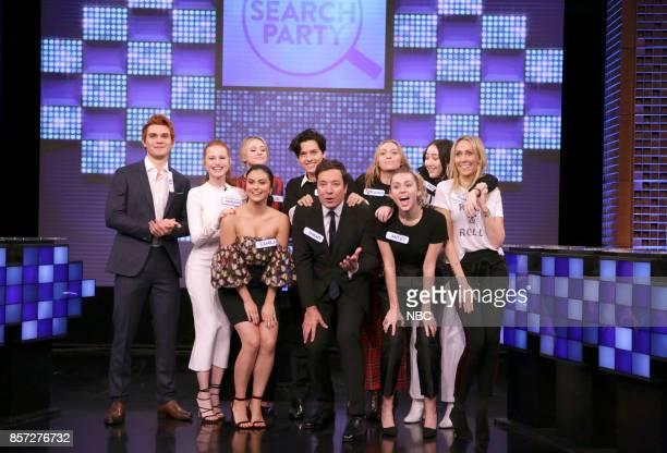 KJ Apa Madelaine Petsch Camila Mendes Lili Reinhart Cole Sprouse host Jimmy Fallon Brandi Glenn Cyrus Miley Cyrus Noah Cyrus Tish Cyrus during...