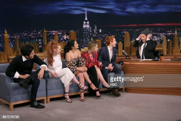 The Cast of 'Riverdale' Cole Sprouse Madelaine Petsch Camila Mendes Lili Reinhart KJ Apa during an interview with host Jimmy Fallon on October 3 2017