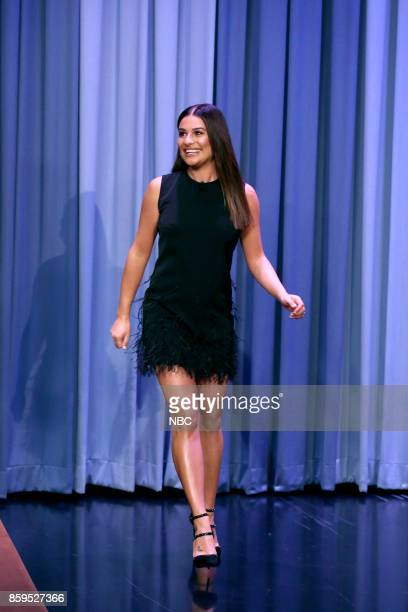 Singer Lea Michele arrives for an interview on October 9 2017