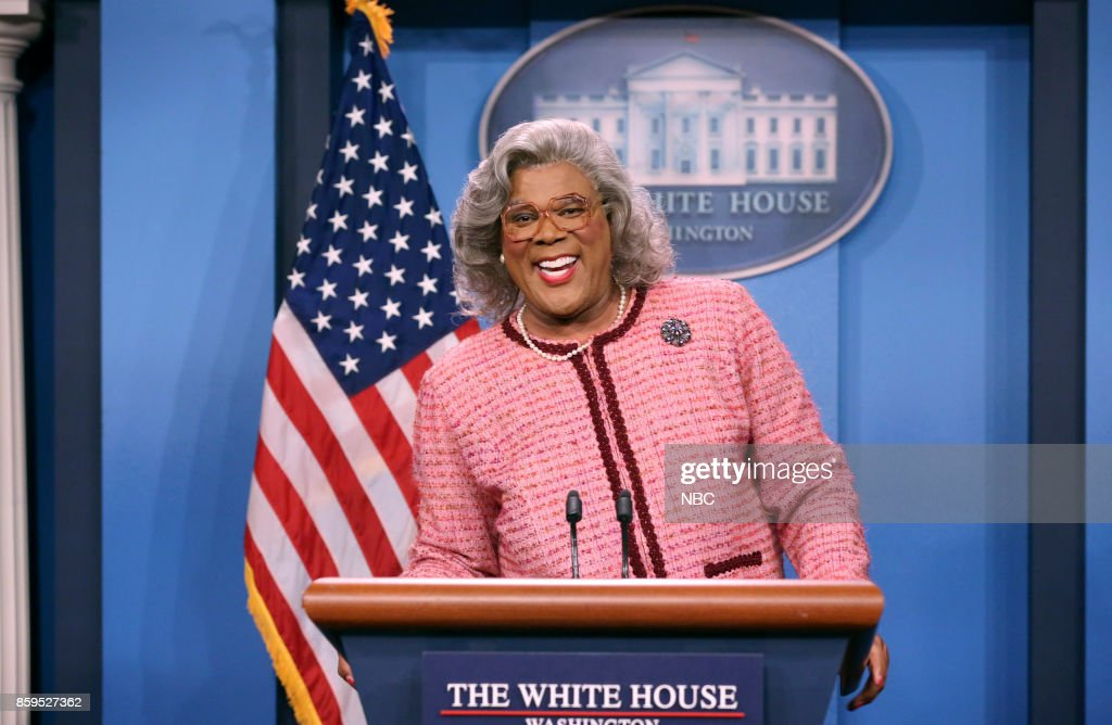 Tyler Perry as Madea during 'Madea Press Conference' on October 9, 2017 --