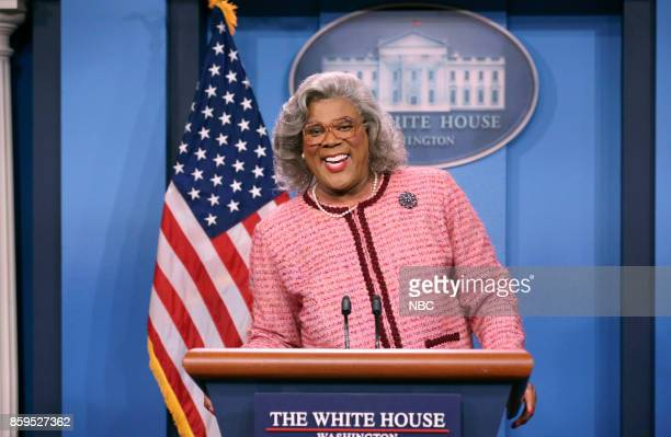 Tyler Perry as Madea during 'Madea Press Conference' on October 9 2017