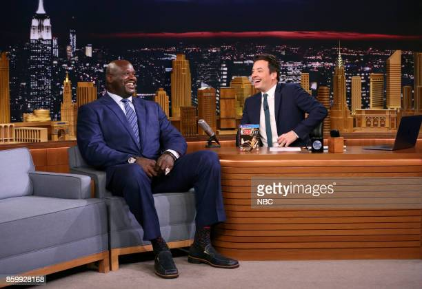 Shaquille O'Neal during an interview with host Jimmy Fallon on October 10 2017