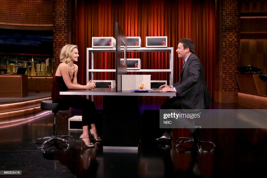 Actress Margot Robbie during with host Jimmy Fallon during 'Box of Lies' on October 11, 2017 --