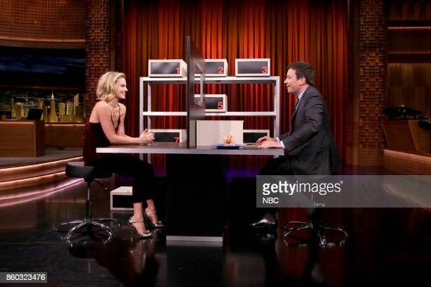 Actress Margot Robbie during with host Jimmy Fallon during 'Box of Lies' on October 11 2017