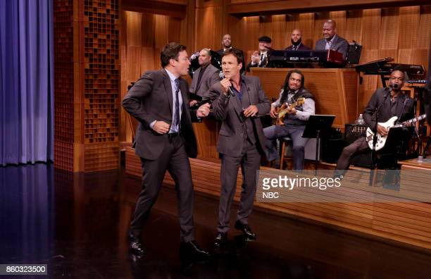 Host Jimmy Fallon sings with Actor Stephen Moyer during an interview on October 11 2017