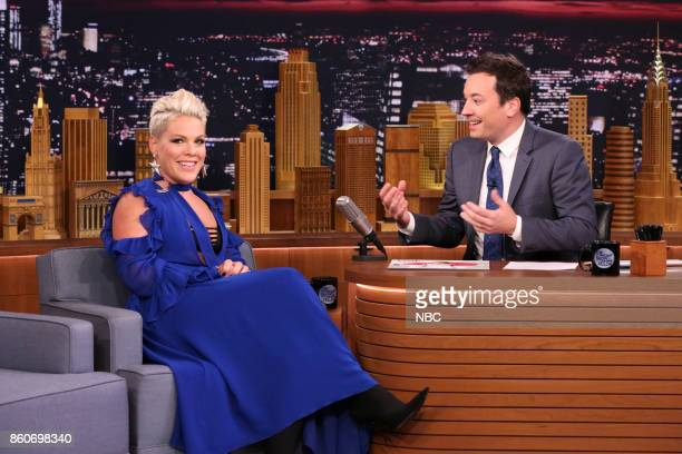 Singer Pnk during an interview with host Jimmy Fallon on October 12 2017