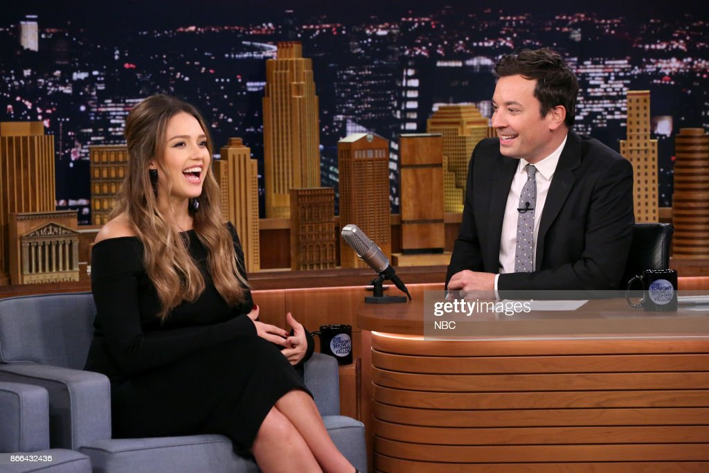 Actress Jessica Alba during an interview with host Jimmy Fallon on October 25, 2017 --
