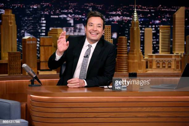 Host Jimmy Fallon at his desk on October 25 2017