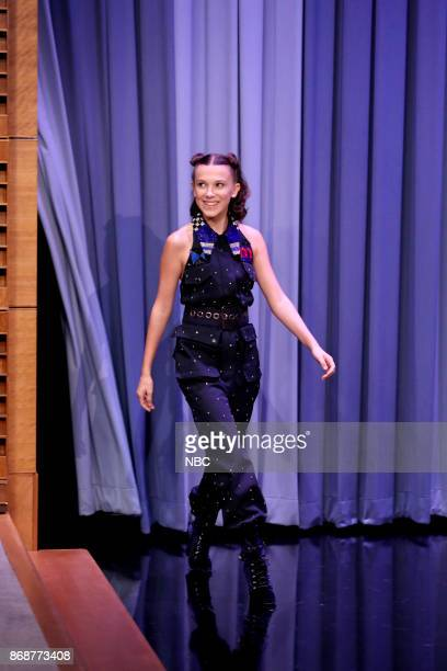 Actress Millie Bobby Brown arrives for an interview on October 31 2017